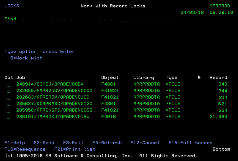 Free 'Work with Record Locks (WRKRCDLCK)' command for IBM i (AS400, iSeries)