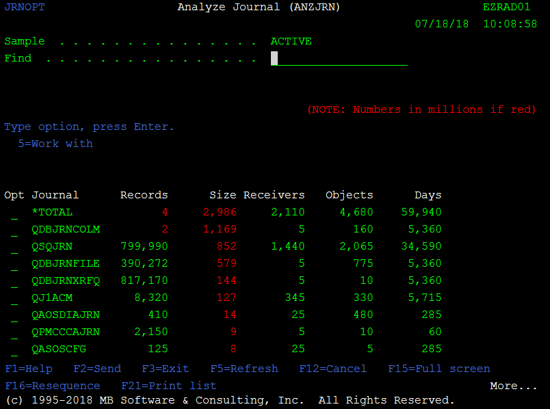 'Analyze Journal (ANZJRN)' command for IBM i (AS400, iSeries)
