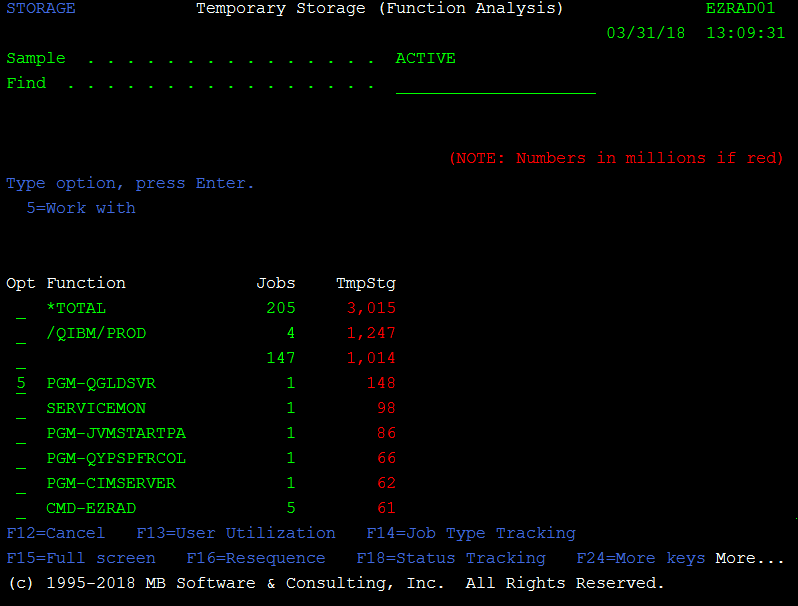 IBM i (AS/400, iSeries) Work with Temporary Storage (WRKTMPSTG) command