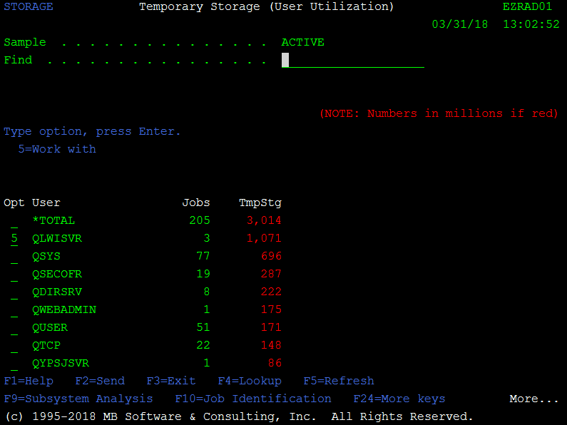 'Work with Temporary Storage (WRKTMPSTG)' command for IBM i (AS400, iSeries)