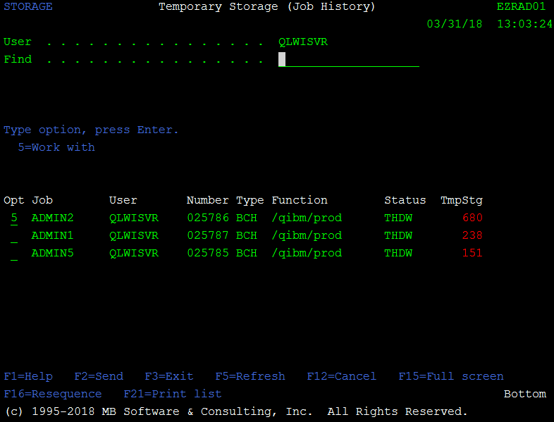 IBM i (AS400, iSeries) Temporary Storage (Job History)